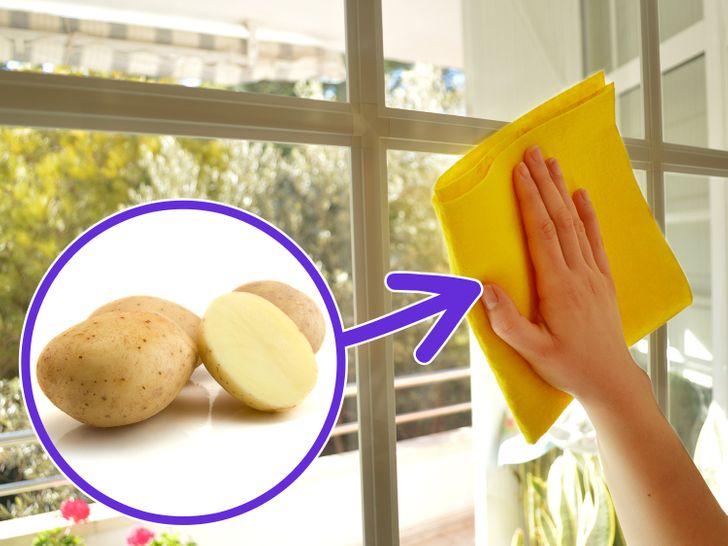почистване на прозорци с картоф